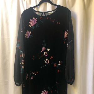 Suede floral dress